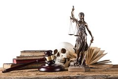 Themis in spotlight, law concept. Stock Image