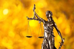 Themis in spotlight, law concept. Stock Images