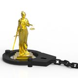 Themis statue and handcuffs Stock Images