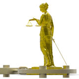 Themis statue and handcuffs Stock Photos