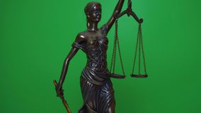 Themis statuette rotates on the background of chromakey stock footage