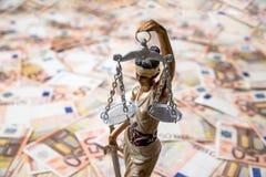 Themis sur l'euro fond Images libres de droits