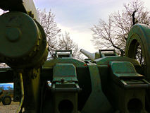 Then a cannon howitzers - the view from the loopholes, Soviet combat weapon of WWII. Then a cannon howitzers Soviet combat weapon of WWII - Placed in front of a Stock Photo