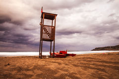 Then summer fades. Summer fades and the autumn arrives in the beach, Sicily, italy Stock Photo