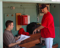 Theo Epstein, GM e Terry Francona, Boston Red Sox fotografia de stock
