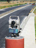 Theodolite. Over the highway, under construction Stock Photography