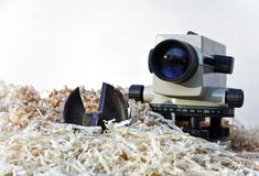 Theodolite on chipping Royalty Free Stock Photos