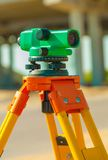 Theodolite on construction place close up Royalty Free Stock Images