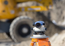 Theodolite at construction site Royalty Free Stock Photo