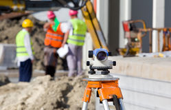 Theodolite at construction site Stock Photos