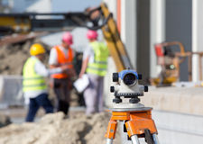 Theodolite at construction site Royalty Free Stock Image