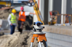 Theodolite at construction site Royalty Free Stock Photos