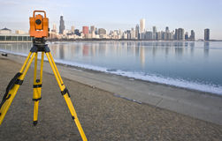 Theodolite in downtown Chicago Royalty Free Stock Photo