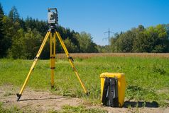 A Theodolite in the Field royalty free stock photo