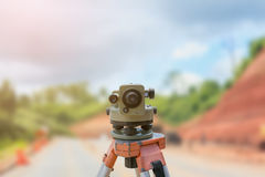 Theodolite instrument for road construct Royalty Free Stock Image