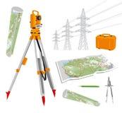 Theodolite, mapy, kompasy, ołówek, linie energetyczne wektor ustalone ilustracje na białym tle Obraz Royalty Free