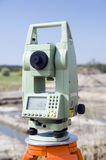Theodolite measurement instrument. Outdoors survey Royalty Free Stock Image