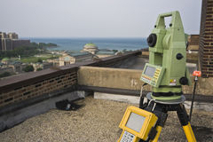 Theodolite on the rooftop Royalty Free Stock Image