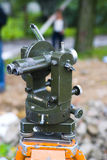 Theodolite survey scope. Used for geographic land measurements stock images