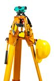 Theodolite with tools isolated Stock Photo