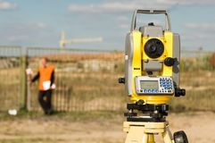 Theodolite on tripod Royalty Free Stock Photography