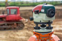 Theodolite on tripod Royalty Free Stock Photos