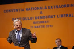 Theodor Stolojan Holding a Speach. Theodor Stolojan, member of PDL party,  holding a Speach during the PDL political party extraordinary congress, Bucharest Royalty Free Stock Images