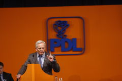 Theodor Stolojan Holding a Speach. Theodor Stolojan, member of PDL party,  holding a Speach during the PDL political party extraordinary congress, Bucharest Stock Photos
