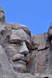 Theodore Roosevelt closeup. Former U.S. President Theodore Roosevelt's carving is part of the Mount Rushmore Memorial in South Dakota royalty free stock photo