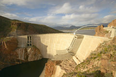 Theodore Roosevelt Dam. On Apache Lake, west of Phoenix AZ in the Sierra Ancha mountains Stock Photos