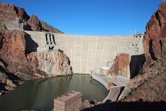 Theodore Roosevelt Dam. Northeast of Phoenix, Arizona. The dam forms Theodore Roosevelt Lake as it impounds Salt River Stock Images