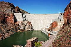 Theodore Roosevelt Dam. Near Phoenix Arizona, along the Apache Trail Royalty Free Stock Image