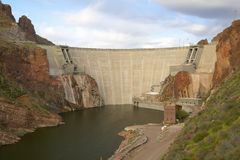 Theodore Roosevelt Dam on Apache Lake, west of Phoenix AZ in the Sierra Ancha mountains Stock Photo