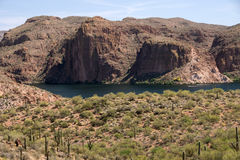 Theodore Roosevelt Lake, Arizona, USA. The Theodore Roosevelt Lake in Arizona USA is a water reservoir, which is filled by the Salt River and Tonto Creek Stock Photo