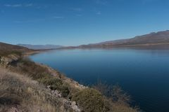 Theodore Roosevelt Lake in southern Arizona. One of the many beautiful views of Theodore Roosevelt lake in southern Arizona stock image