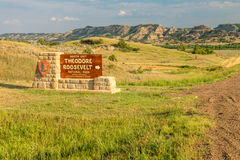 Theodore Roosevelt National Park sign. For the North Unit stock photos