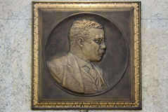 Theodore Roosevelt Plaque. Embossed Bronze Plaque of President Theodore Roosevelt Profile Stock Photos