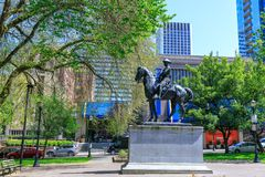 Theodore Roosevelt, Rough Rider statue, and Oregon Historical Society Museum, South Park Blocks. Portland, Oregon, USA - April 27, 2018 : Theodore Roosevelt stock images
