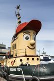 Theodore Too Docked in Halifax. HALIFAX, NOVA SCOTIA - September 22, 2015: The Halifax Harbour Walk is a boardwalk open to the public 24 hours a day, which stock photo