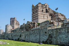 Theodosian Land walls of the Byzantine Empire Stock Photo