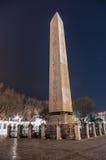 Theodosius方尖碑在夜间期间的 库存图片