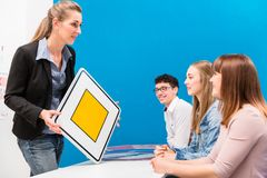 Theoretical lessons in driving school. Given by instructor royalty free stock image