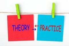 Theorie en praktijk stock foto's
