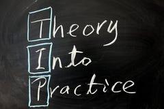 Theorie in praktijk stock afbeelding