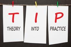 Theorie in Praktijkuiteinde stock foto's