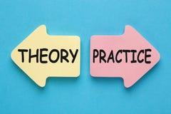Theorie versus praktijkconcept stock foto