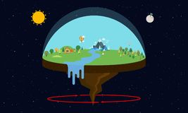 Theory of Flat Earth. Vector illustration in flat design Stock Photography