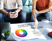 Theory Graphic Chart Color Scheme Concept. People Discuss Theory Graphic Chart Color Scheme Royalty Free Stock Photo
