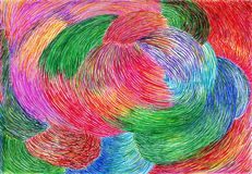 The theory of mixed volumes. The painting is made by colored markers on paper. The image size is about A4 Stock Photos