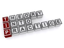 Theory into practice. 3d letter blocks spelling the words theory into practice on a white studio background Royalty Free Stock Photo
